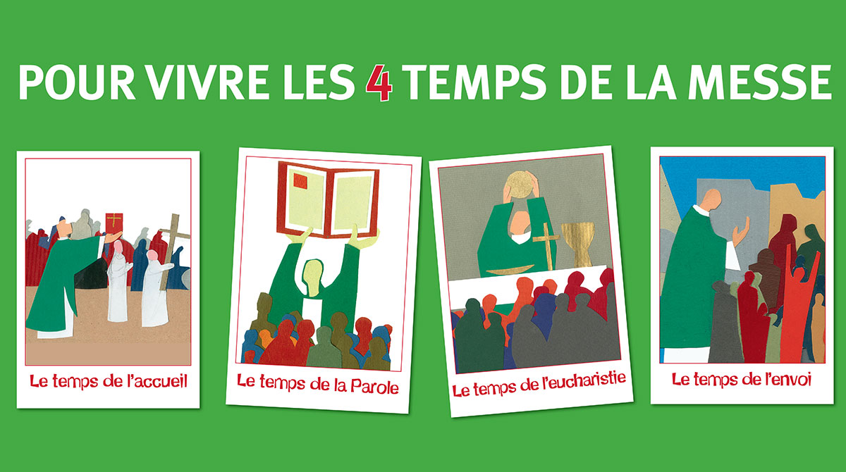 Le poster de Prions en Église Junior : les 4 temps de la messe