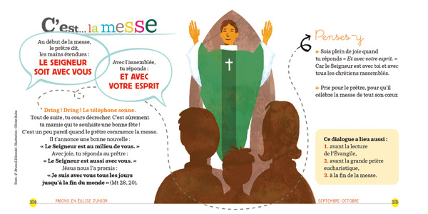 Double page de Prions en Eglise Junior, explication d'une prière de la messe